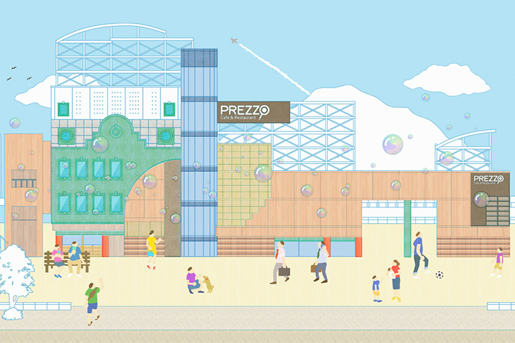 レストラン街「プレッツォ」!アンドウスポーツより徒歩8分です。大型駐車場有り。